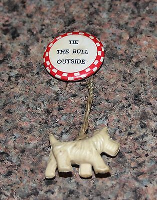 """Vintage Humorous Tie The Bull Outside  1 1/4"""" Celluloid Pinback Button"""