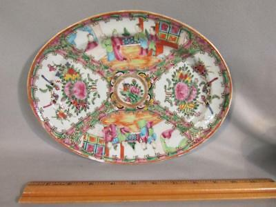 """Antique Chinese Export Rose Medallion 10"""" Oval Tray / Platter"""