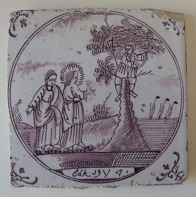 "18th century DUTCH DELFT BIBLICAL TILE ""LUKE 19:4 ZACCHAEUS IN THE TREE"""