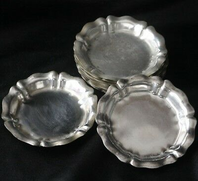 Vintage 800 SILVER Set of 8 Scalloped Edge Dishes