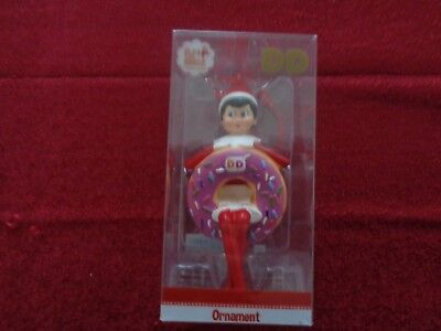 Dunkin Donuts Elf on the Shelf Ornament Holiday 2018 Purple Donut New in Box