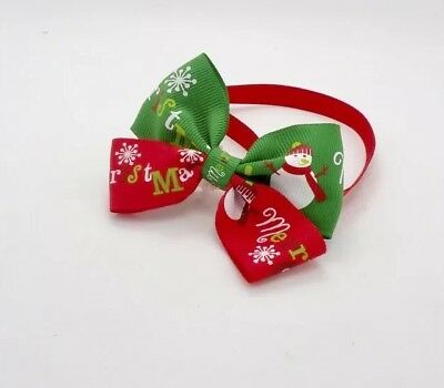 Christmas X'mas dog Cat Pet Adjustable Bow Tie Necktie Collar Party Double Bows