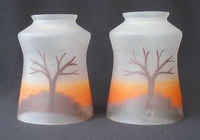 """Pair Vintage Hand Painted Satin Glass Lamp/Light Shades w/ 2 1/4"""" Fitter   SH460"""