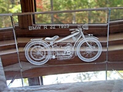Bmw 1923 Vintage Motorcycle Laser Engraved Glass Paperweight 4 X 2.5 X 2.5