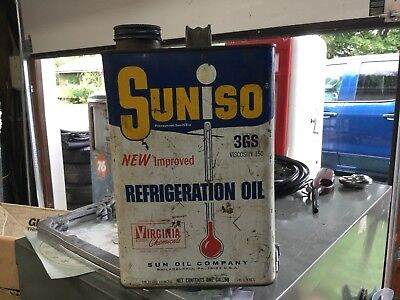 Suniso Dual Inhibited Refrigerator Oil Tin Can , One Gallon , Sunoco Advertising