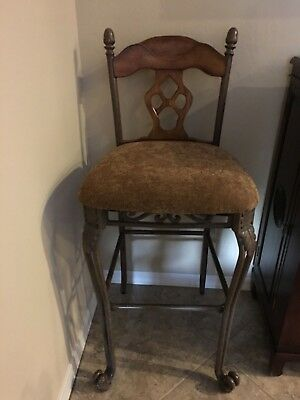 Bar Stools,(2) Quality Heavy Wrought Iron, Wood Accents,Cloth Seats, Bar Height