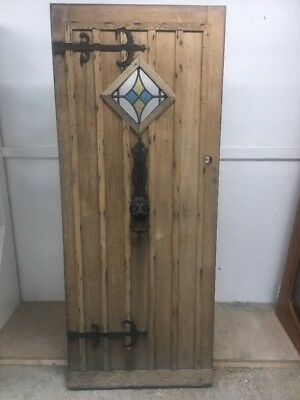 Solid Oak Front Door Period Wood Reclaimed Rustic Antique Iron Stained Glass Old
