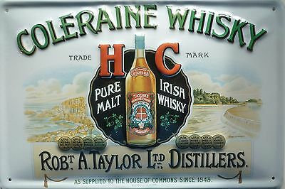 Coleraine Whisky - Blechschild 20x30cm Pure Malt Irish Whiskey a. Taylor Glasgow