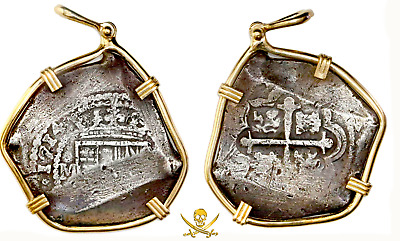 1715 Fleet Shipwreck 1714 8 Reales Pendant Jewelry Pirate Gold Coins Real 8 Coa!
