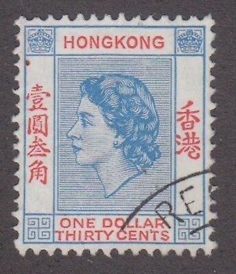 Hong Kong 1960, $1.30 blue and red; SG188; Sc 195, used.
