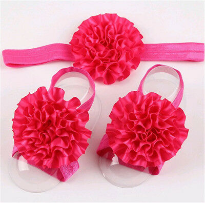 1set/3Pcs Baby Infant Headband Foot Flower Elastic Hair Band Accessories Rose