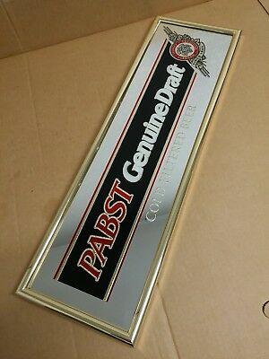 Vintage Pabst Genuine Draft Cold Filtered Beer Mirror Sign Advertising Man Cave