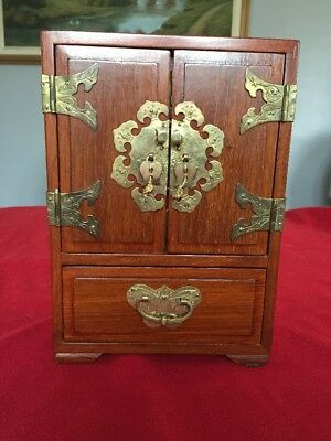 Vintage Asian Chinese Oriental Wood Jewelry Box with brass