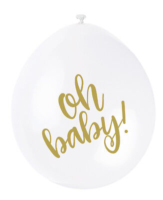 """Balloons x10 """"Oh Baby!"""" Baby Shower Party Neutral Unisex Girls Boys"""