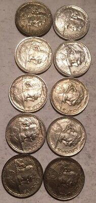 Lot Of 10 - 1935 - 2000 REIS SILVER COINS - BRAZIL - 50% SILVER - SEE PICS