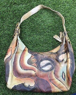 Beautiful Vintage Magnifique Hand Painted Leather Purse Bag Handbag