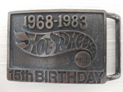Vintage Collectible 1968-1983 Brass Engraved Hot Wheels 15th Birthday Buckle