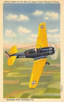 Shreveport LA~Barksdale Field~Army Air Corps~Flying Cadets~Plane~1940 Linen WWII