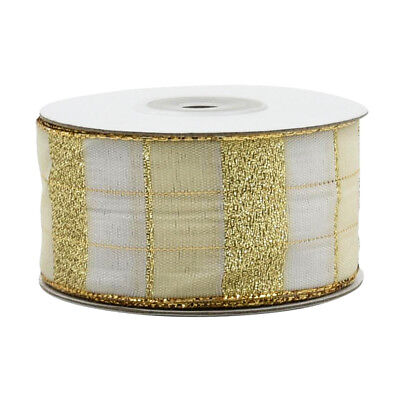 Gold Glitter Tartan Wire Edged Ribbon Christmas Crafts Gift Wrapping