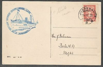 Lithuania 1933 Post Card to Berlin sent from ship; 14.7.1933