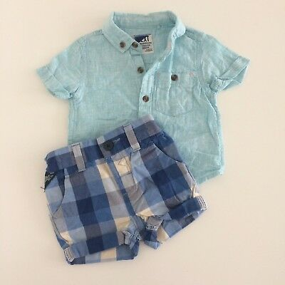 Baby Boys NEXT Aqua Green Linen Shirt And Shorts Outfit Size 3-6 Months