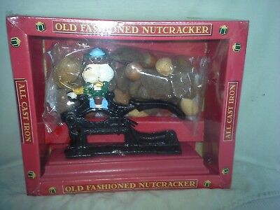 New Cast Iron Old Fashioned Nutcracker With Wood Base #3551 with 6oz pack  Nuts