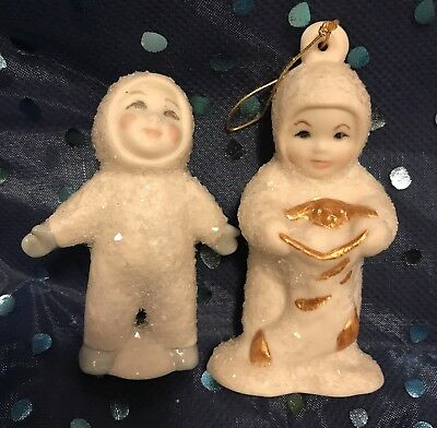 Lot of 2 Homemade Hand-painted Snowbabies figurines - Signed Elizabeth 93' + 94'