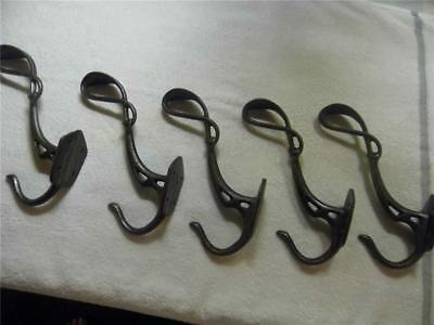 Set 5 Large Ornate Cast Iron Wall Hooks Antique Vintage Double Hat Coat Hangers