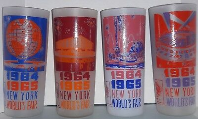 4 (Four) Set Vintage 1964-1965 New York World's Fair Collector Glasses Euc!