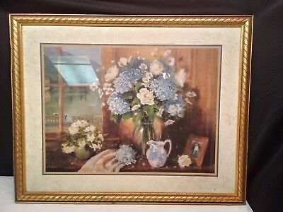 "Vintage Home Interiors/Homco Gold Framed Large Flower Vase Picture, 30"" x 24"""
