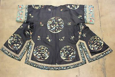 Antique Chinese Robe Silk Hand Embroidered Medallions w/Cranes Qing Dynasty Vtg