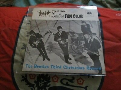 BEATLES THIRD CHRISTMAS RECORD. 1965 FAN CLUB FLEXI. LYN 948  V/G plus con