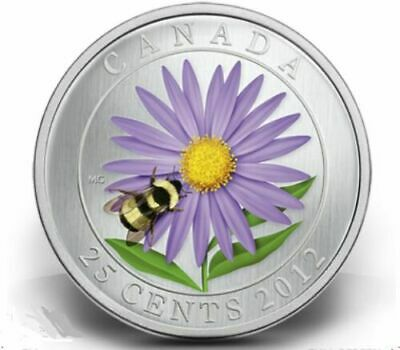 2012 CANADA 25-cents Coloured Coin - Aster and Bumble Bee