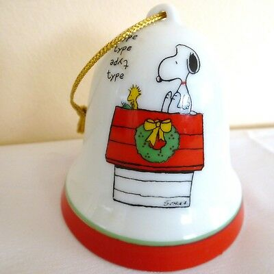 Peanuts Charlie Brown Snoopy Woodstock Porcelain Christmas Bell Ornament 1965