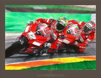 """TROY BAYLISS and Ducati """"Twins - Full Circle"""" by John Keogh (LIMITED time $175)"""