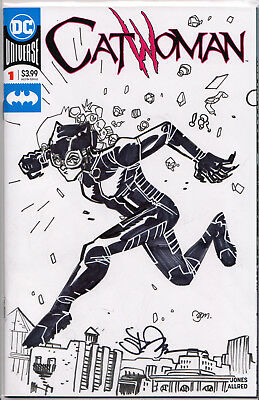CATWOMAN #1 BLANK VARIANT (2018) w/ORIGINAL COVER ART BY SETH DAMOOSE ~ SIGNED