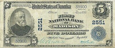 1902 $5 National Bank Note ~  Madison, New Jersey ~ Morris County ~ Nice Note