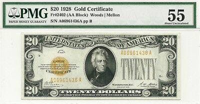1928 $20 Gold Certificate ~ Totally Bright & Fresh Pmg Choice About New 55