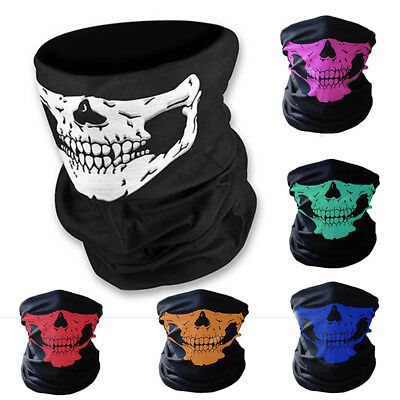 Half Skull Face Mask Skeleton Bandana Neck Warmer Tube Snood Biker Balaclava