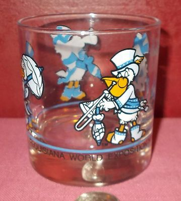 1984 NEW ORLEANS EXPOSITION BAR Cocktail GLASS Low Ball Rocks Louisiana ^