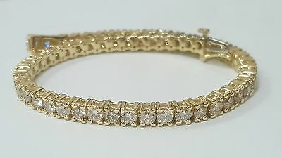 5ct round cut yellow gold 14k diamond tennis bracelet E SI1  CERTIFIED 8 inches