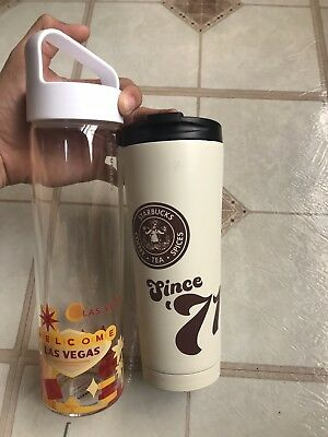 Starbucks Thermo Coffee Cup And Water Glass  Last Vegas Cup. Vintage Rare Logo