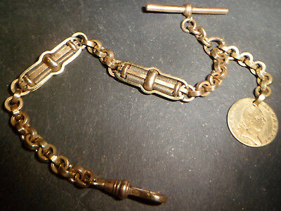 Antique Heavy 34g Chunky Gold Tone Albert Pocket Watch Chain and Coin Fob