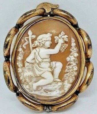 Large Antique HQ Hand Carved Shell Cameo in Gold Chased swivel frame