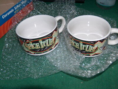 2 LOONEY TUNES DINER 12 oz CERAMIC SOUP MUGS  - 1998 DAFFY DUCK AND BUGS BUNNY