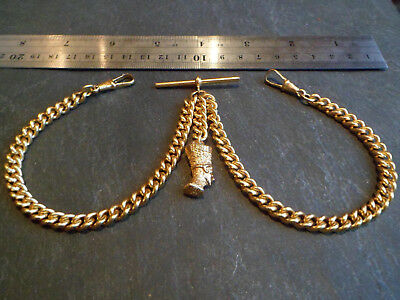 Vintage HEAVY 52g Gold Plated Double Albert Pocket Watch Chain and Egyptian Fob