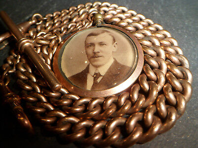 Antique Heavy 43g 9ct Rose Rolled Gold Chunky Double Albert Pocket Watch Chain