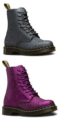 Dr Martens Women's 1460 Pascal Glitter Lace Up Boots in Purple and Pewter