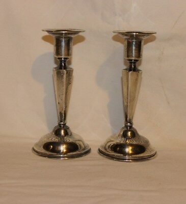 A Pair of Antique Bailey Banks & Biddle Co. Sterling Silver Candlestick Holders