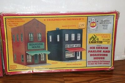 (New Sealed) A.H.M. Ice Cream Parlor Boarding House HO Trains Scale Kit 15501